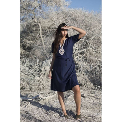 Navy Blue Diamond Pattern Carla Embroidery Tunic Dress-Moroccan Dress - Maison De Marrakech