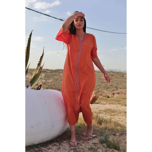 Orange Caftan Kaftan Zeliji Maxi Dress-moroccan kaftan - Maison De Marrakech