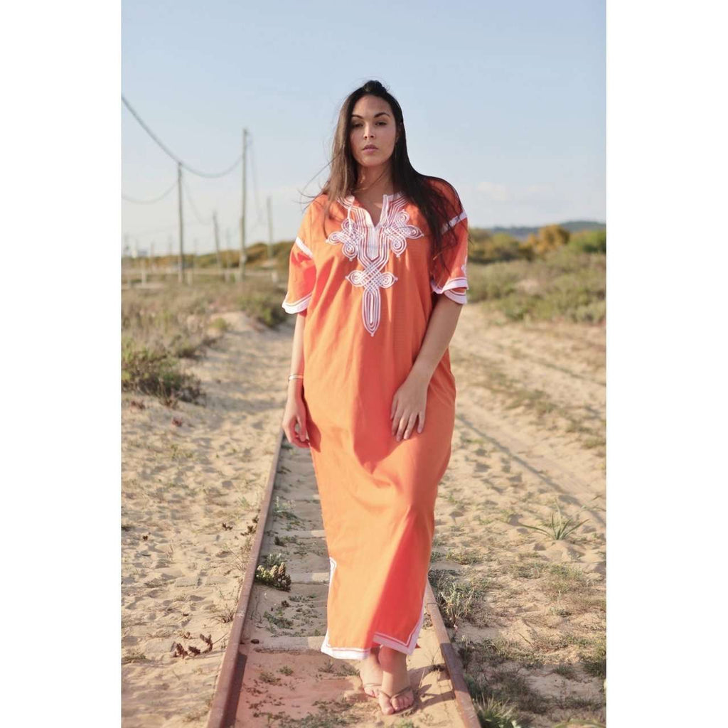 Orange & White Caftan Kaftan Aziza Maxi Dress-moroccan kaftan - Maison De Marrakech