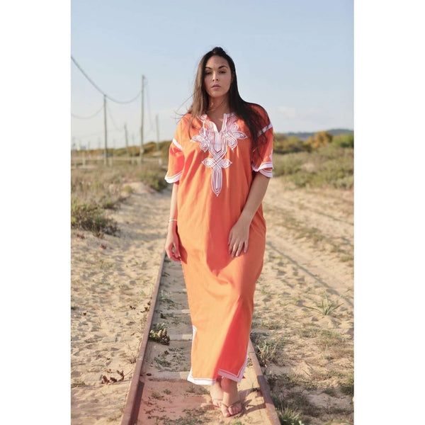 Orange & White Caftan Kaftan Aziza Maxi Dress-moroccan kaftan,Orange & White Caftan Kaftan Aziza Maxi Dress-moroccan kaftan