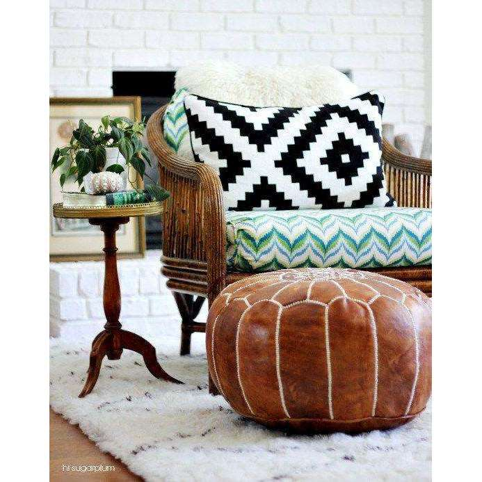 Tan Brown Moroccan Leather Pouf