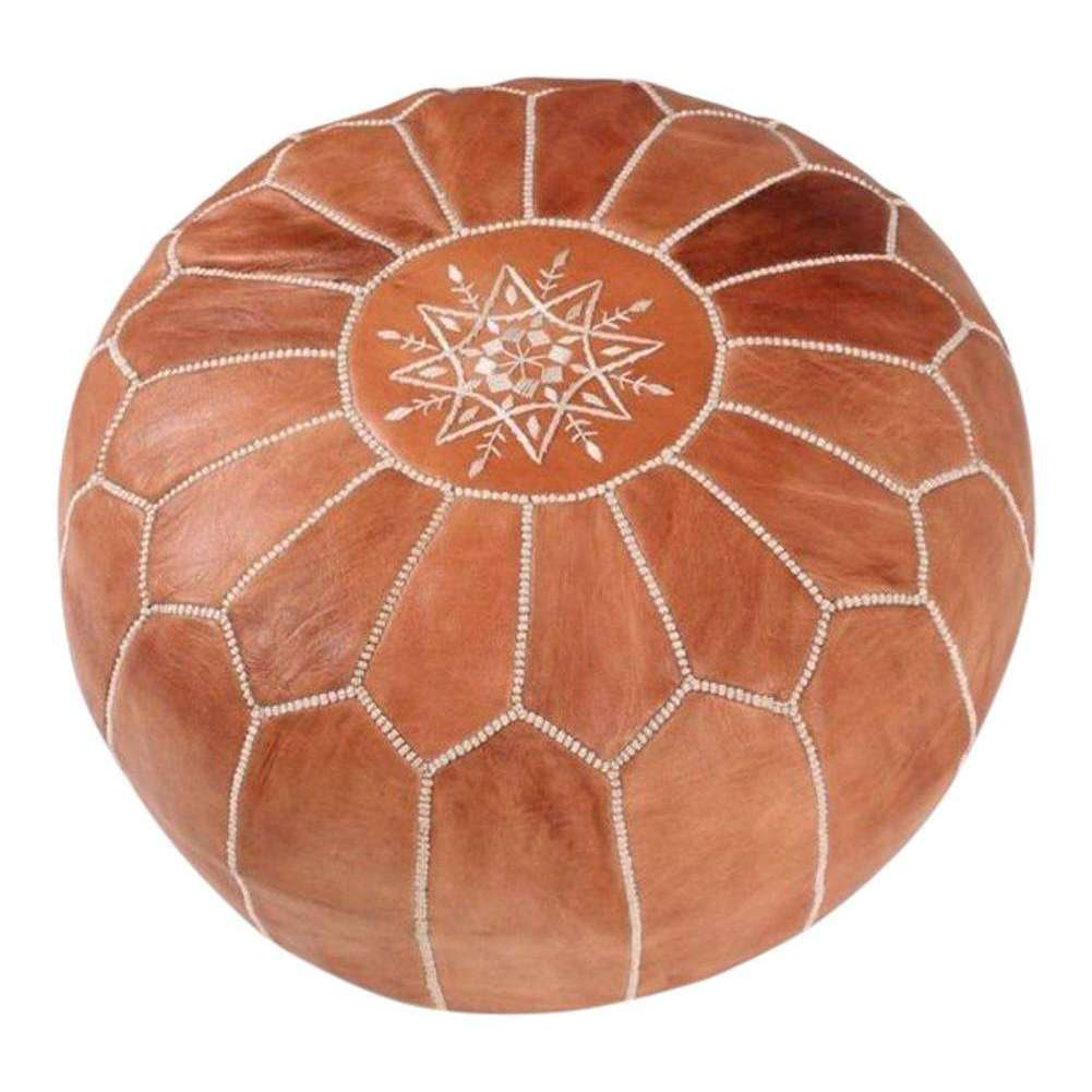 Tan Brown Moroccan Leather Pouf - Maison De Marrakech
