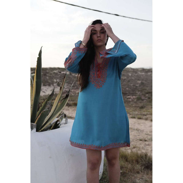 Turquoise Blue & Orange Embroidery Nadia Tunic Dress - Moroccan Tunic - Maison De Marrakech