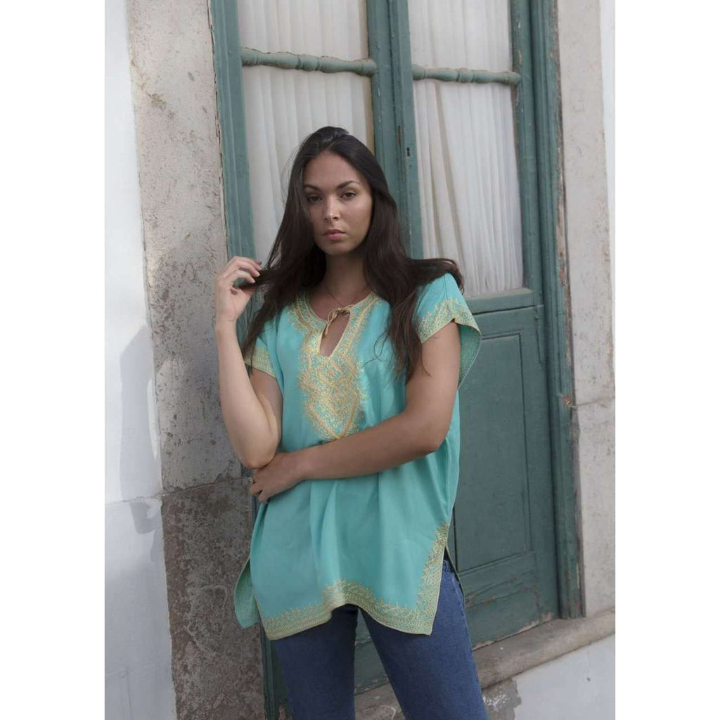 Anabelle Style Emerald Green with Gold Embroidery Tunic-Moroccan Tunic - Maison De Marrakech