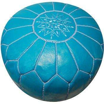 Turquoise Leather Pouf - Maison De Marrakech