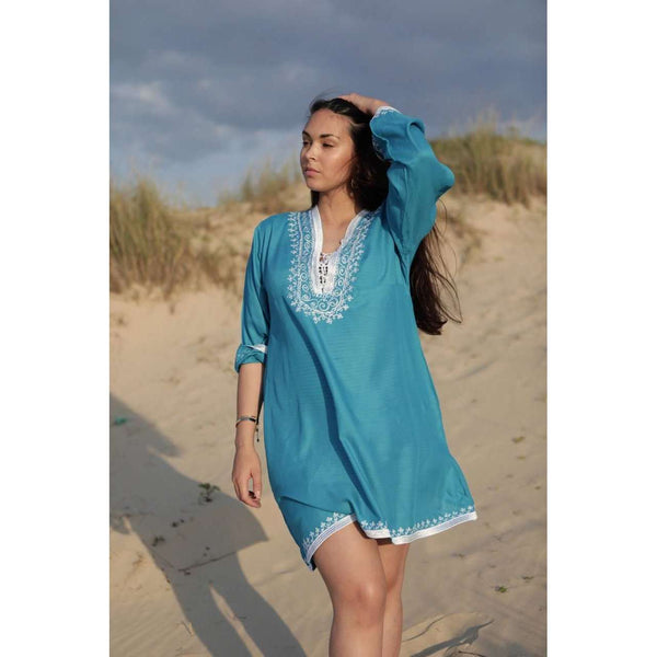 Turquoise Blue & White Embroidery Nadia Tunic Dress - Moroccan Tunic,Turquoise Blue & White Embroidery Nadia Tunic Dress - Moroccan Tunic