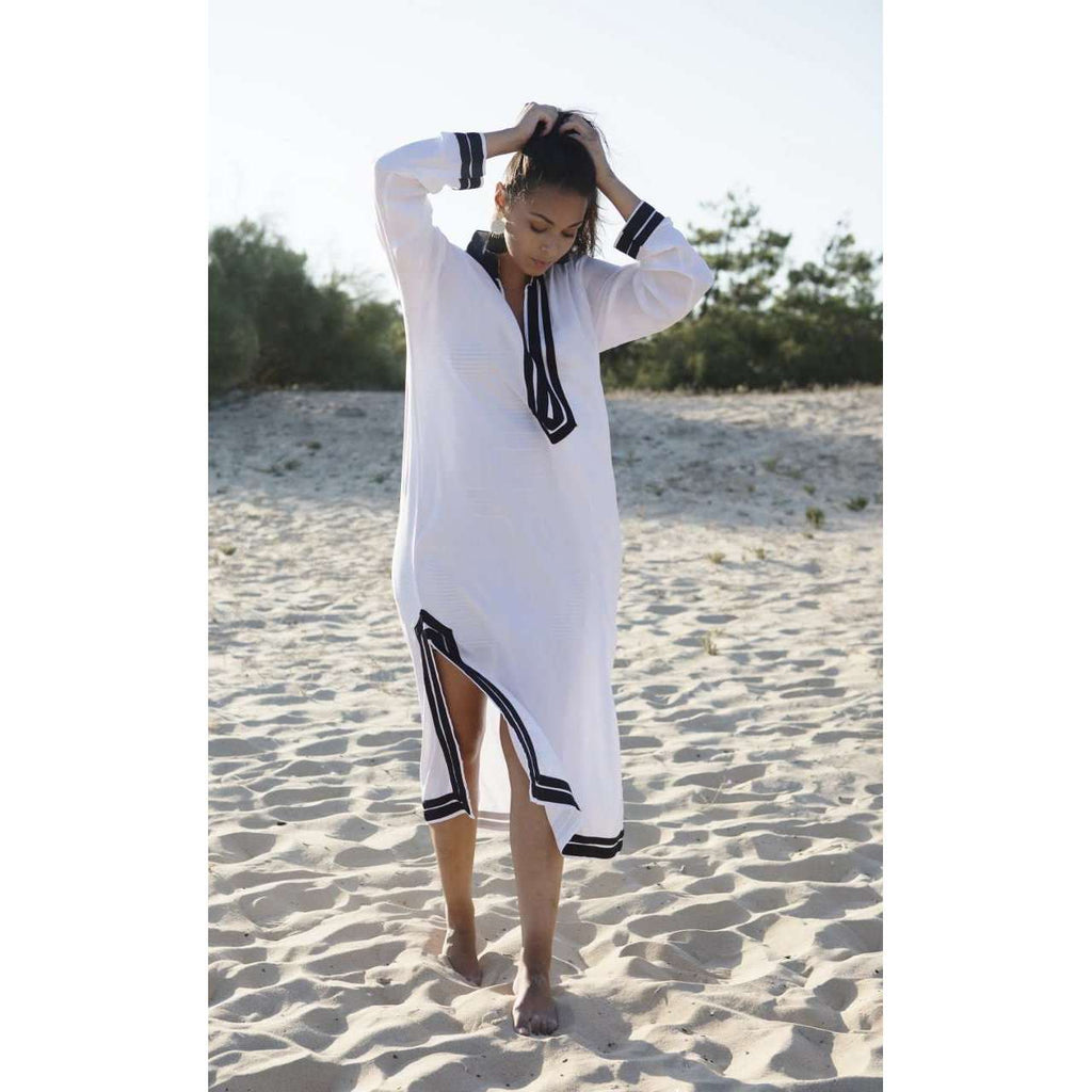 White Navy Blue Mariam Kaftan Caftan Dress-Moroccan Kaftan - Maison De Marrakech