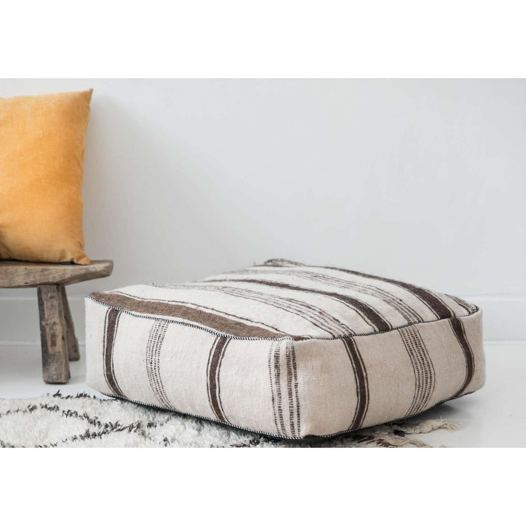 Moroccan White with Brown Kilim Pouf