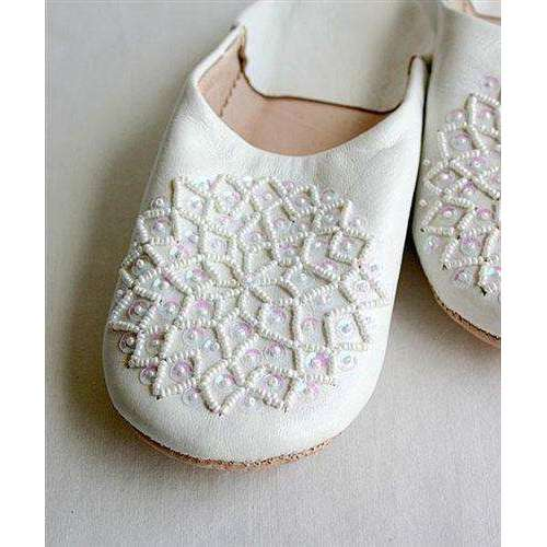 White Moroccan Les Etolie Babouche Slippers