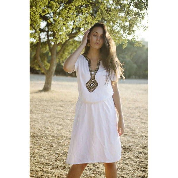 White Diamond Pattern Carla Embroidery Tunic Dress-Moroccan Dress - Maison De Marrakech