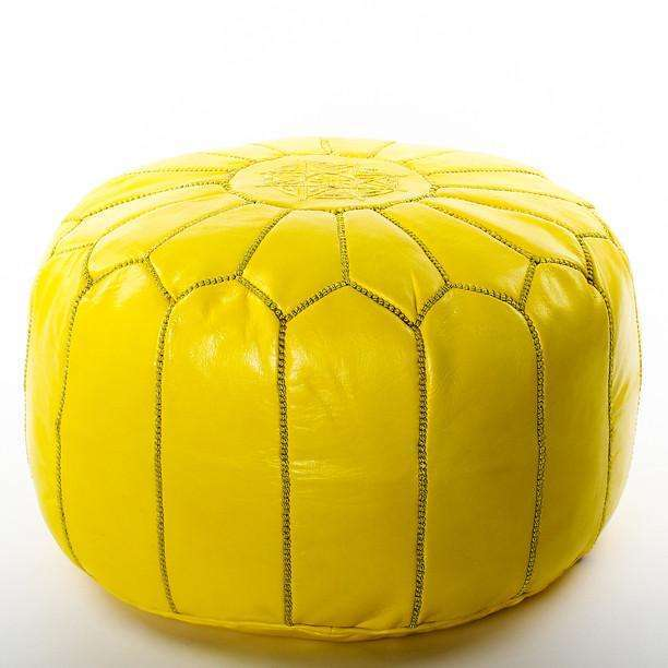 Yellow Moroccan Leather Pouffe Pouf - Maison De Marrakech