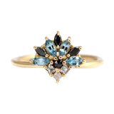 Aquamarine Engagement Ring - Aquamarine And Diamond Cluster Ring