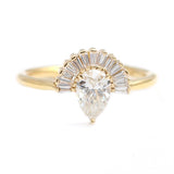 Pear Diamond With Baguette Diamond Crown - Art Deco Crown Ring