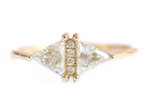 Vintage Diamond Triangle Ring - Delicate geometric engagement ring