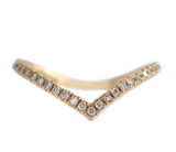 Chevron Diamond Ring - Gold Chevron Band