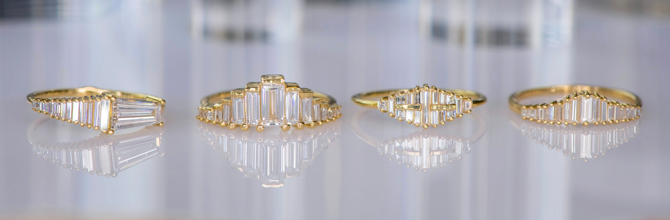 Engagement and wedding rings collection inspired by the elegant and glamorous art deco style
