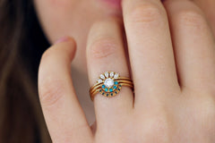 turquoise and diamond wedding ring set
