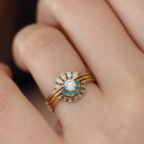 Three Rings Wedding Set on finger