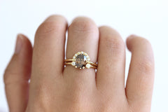 1.5 carat champagne diamond engagement ring in a set