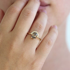 1.5 carat champagne diamond engagement ring on finger