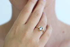 1.5 carat champagne diamond engagement ring on hand