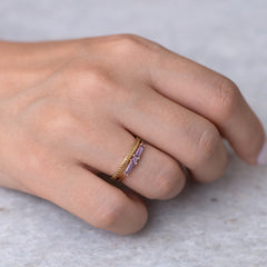 Lilac needle baguette ring6