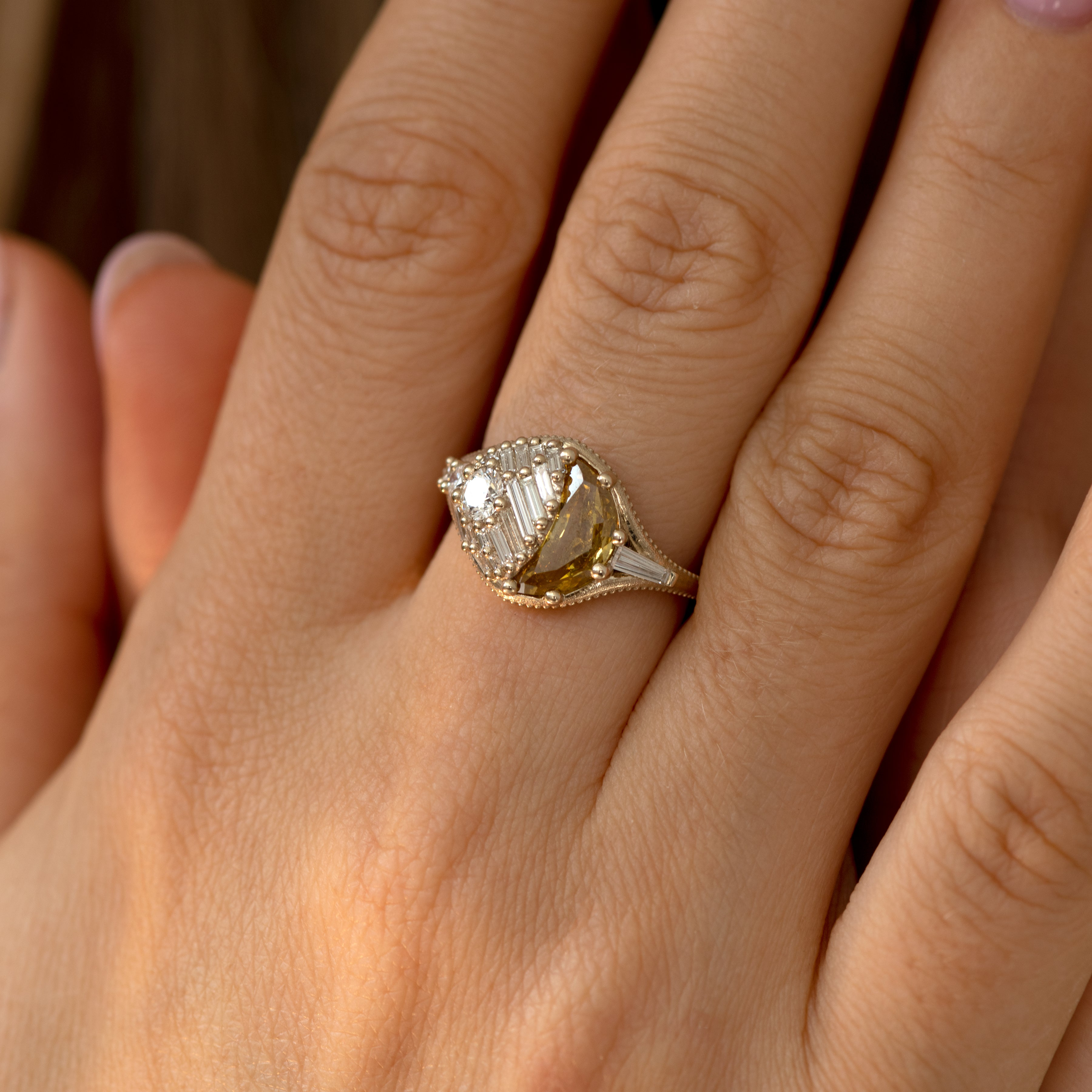 Sun & Star Engagement Ring with Crescent Fancy Color Diamond - OOAK7