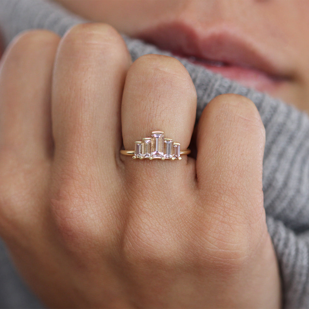 Morganite Engagement Ring - Art Deco Morganite Ring