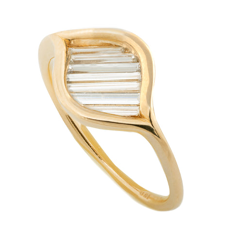 Diagonal Baguette Diamond Ring - Minimalist Eye Ring1