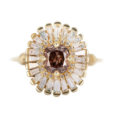 Bague halo diamant brun whisky - OOAK