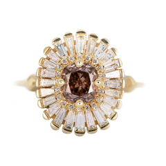 Whiskey Brown Diamond Halo Ring - OOAK