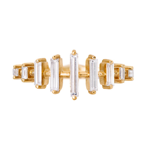 Spaced Needle Baguette Diamond Ring