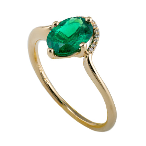 Floating Oval-Cut Emerald engagement ring1