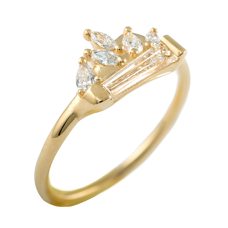 Tapered Baguette Diamond Cluster Ring with Marquise and Pear Diamonds - OOAK1
