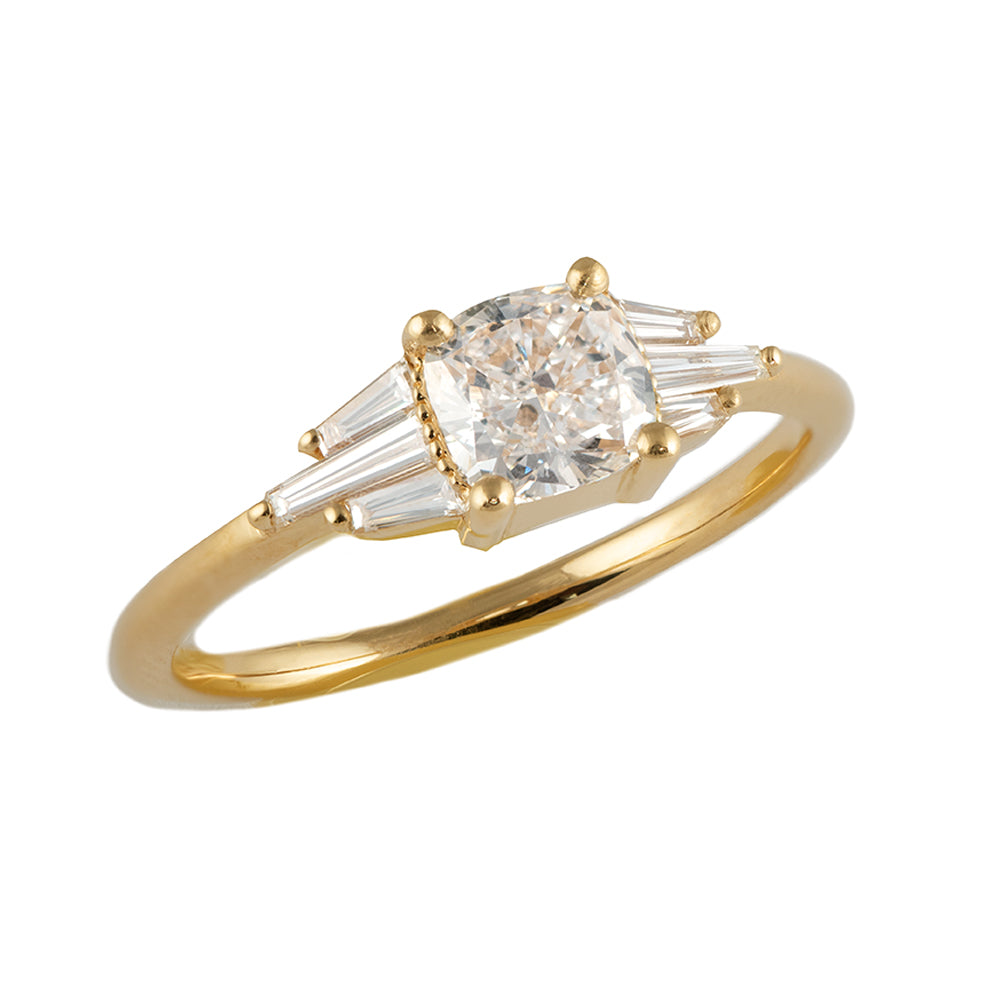 Deco Engagement Ring with Cushion Diamond1
