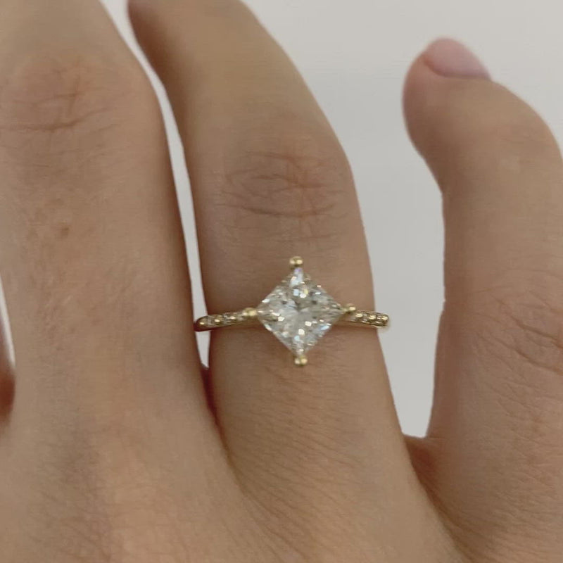 Princess-Cut-Solitaire-Engagement-ring-with-Baguette-Diamond-Detailing-OOAK-video