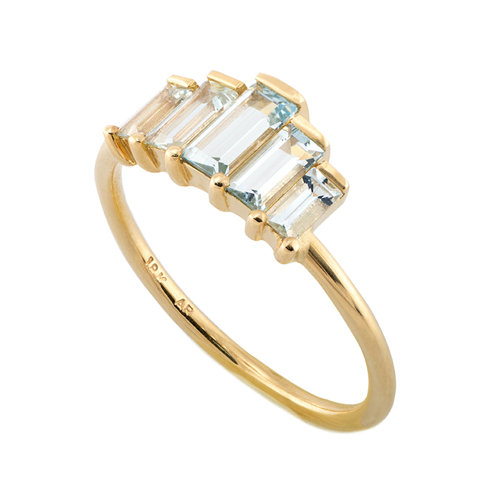Geometric Baguette Cut Aquamarine Ring1