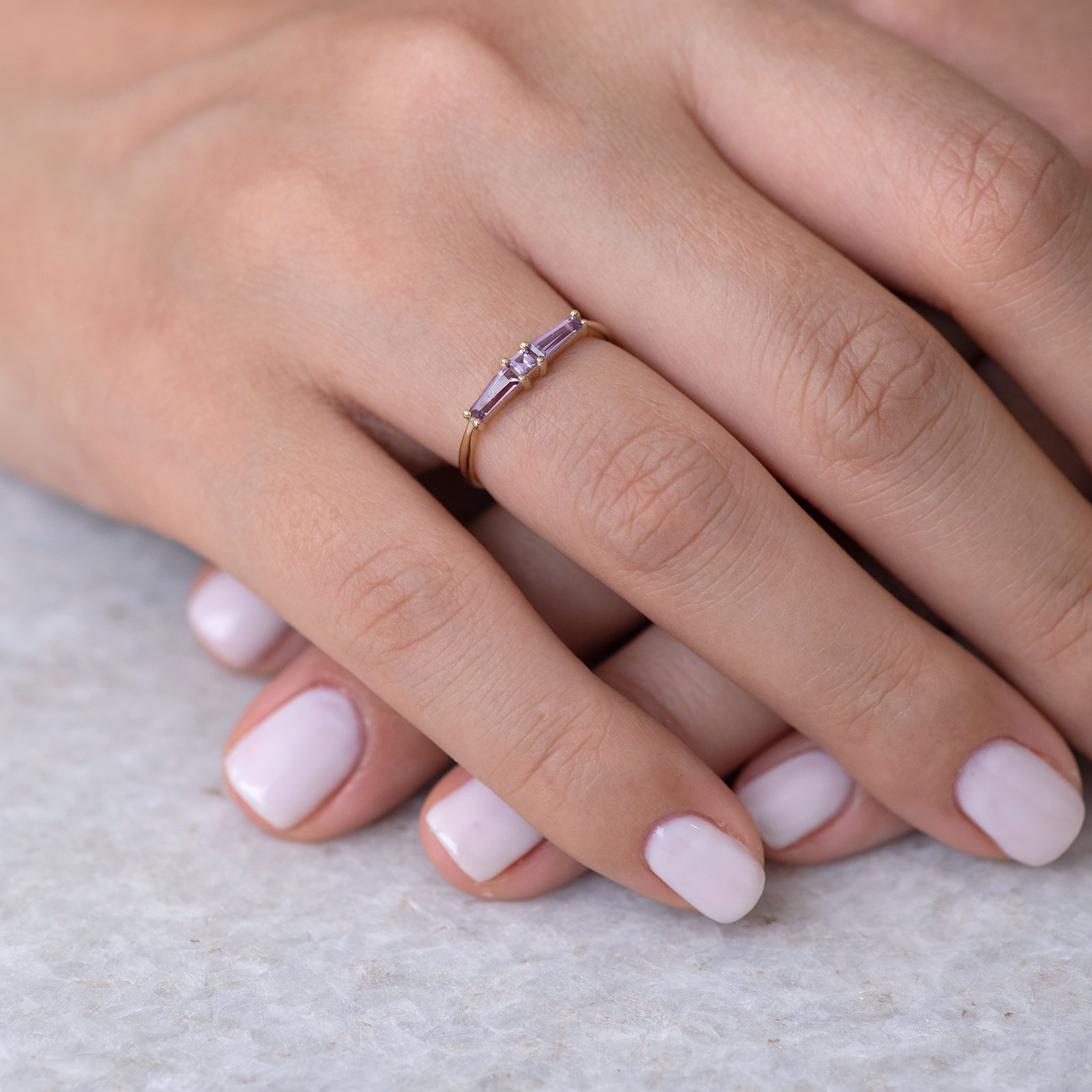 Lilac needle baguette ring4