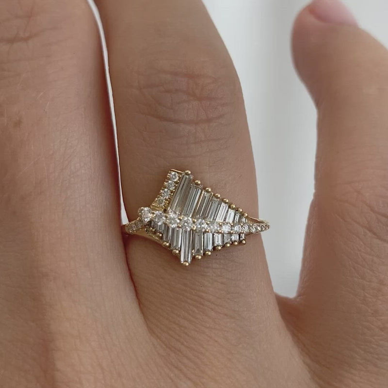 Asymmetrical-Baguette-Cluster-Ring-with-Round-Diamond-Beams-VIDEO