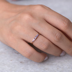 Lilac needle baguette ring5