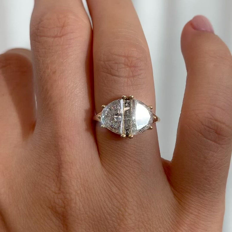 Two-Carat-Half-Moon-Engagement-Ring-with-Unique-Salt-and-Pepper-Diamonds-OOAK-closeup-video