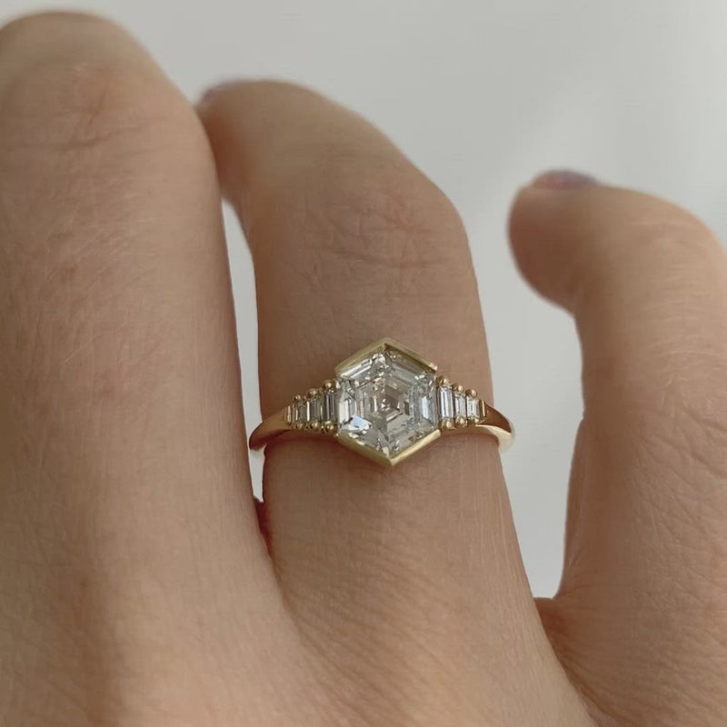 Hexagon-step-cut-engagement-ring-video
