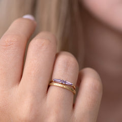 Lilac needle baguette ring7