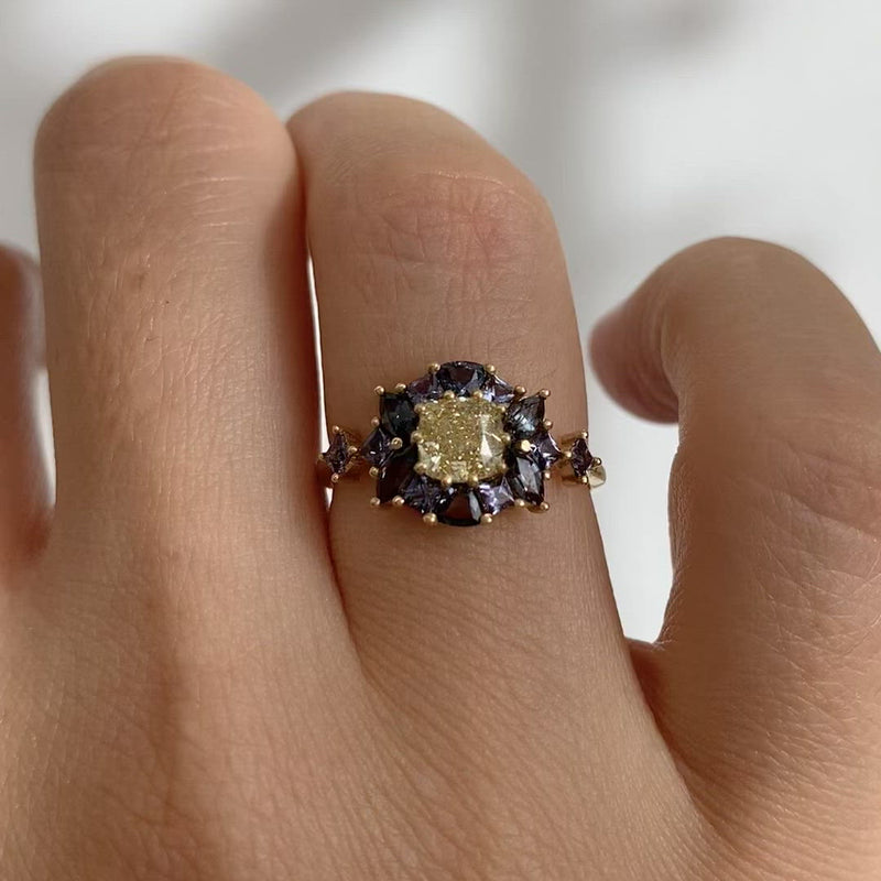OOAK-Color-Changing-Garnet-Engagement-Ring-with-Fancy-Yellow-Diamond-video