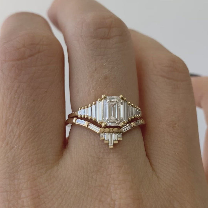 Classic-Emerald-Cut-Engagement-Ring-with-Tapered-Needle-Baguette-Diamonds-video-in-set