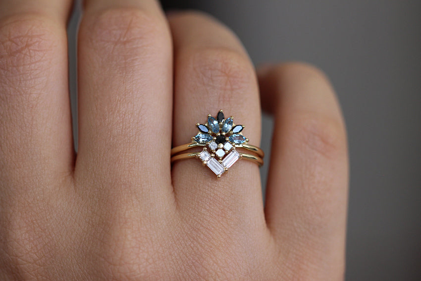 Aquamarine Engagement Ring In A Set