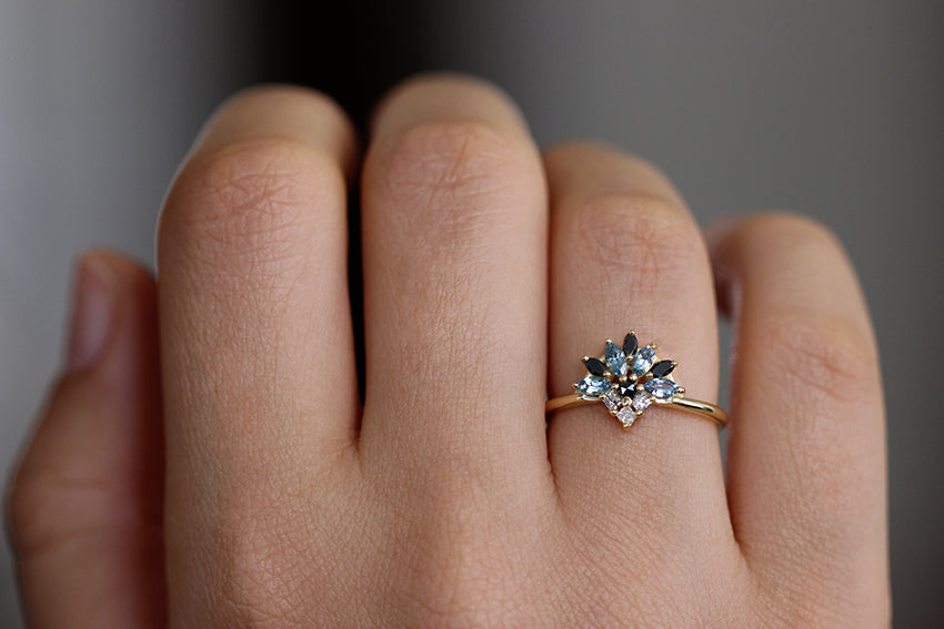 Aquamarine Engagement Ring On A Woman's Hand