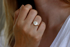 Art Deco Baguette Cluster Engagement Ring On Hand