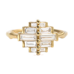 Art Deco Baguette Cluster Engagement Ring