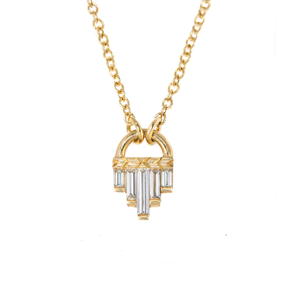 Art Deco Diamond Necklace with Baguette Cut Diamonds - S